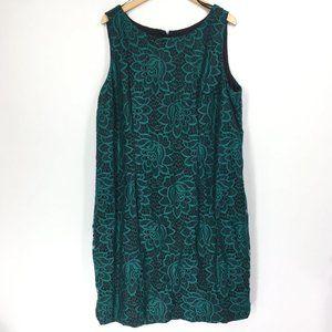 Chetta B 22W Dress Sheath Short Green Floral